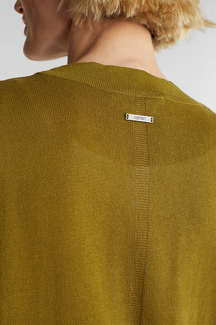 Linen blend: fine knit cardigan, OLIVE, detail image number 2