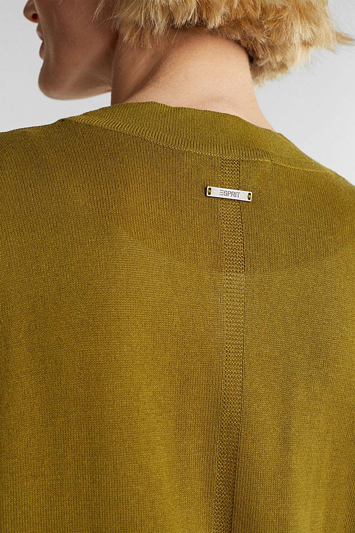 Mit Leinen: Cardigan aus Feinstrick, OLIVE, detail image number 2