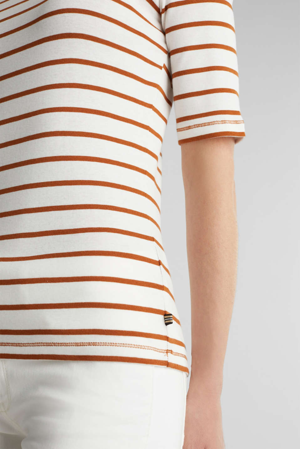 Striped top, 100% organic cotton, RUST BROWN 4, detail image number 2