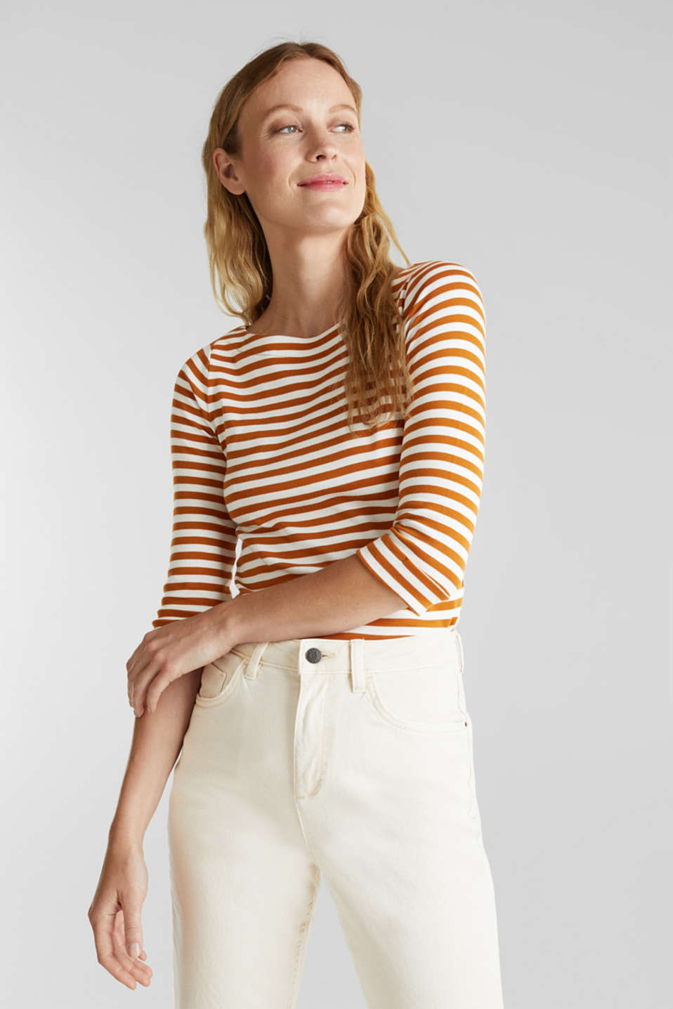 Top made of 100% organic cotton, RUST BROWN 4, detail image number 0