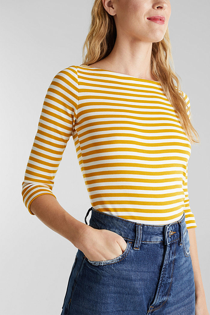 Top made of 100% organic cotton, BRASS YELLOW, detail image number 2