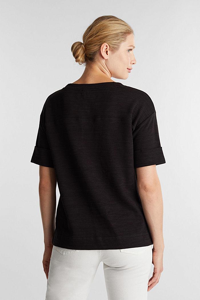 T-Shirt aus meliertem Sweatstoff, BLACK, detail image number 3