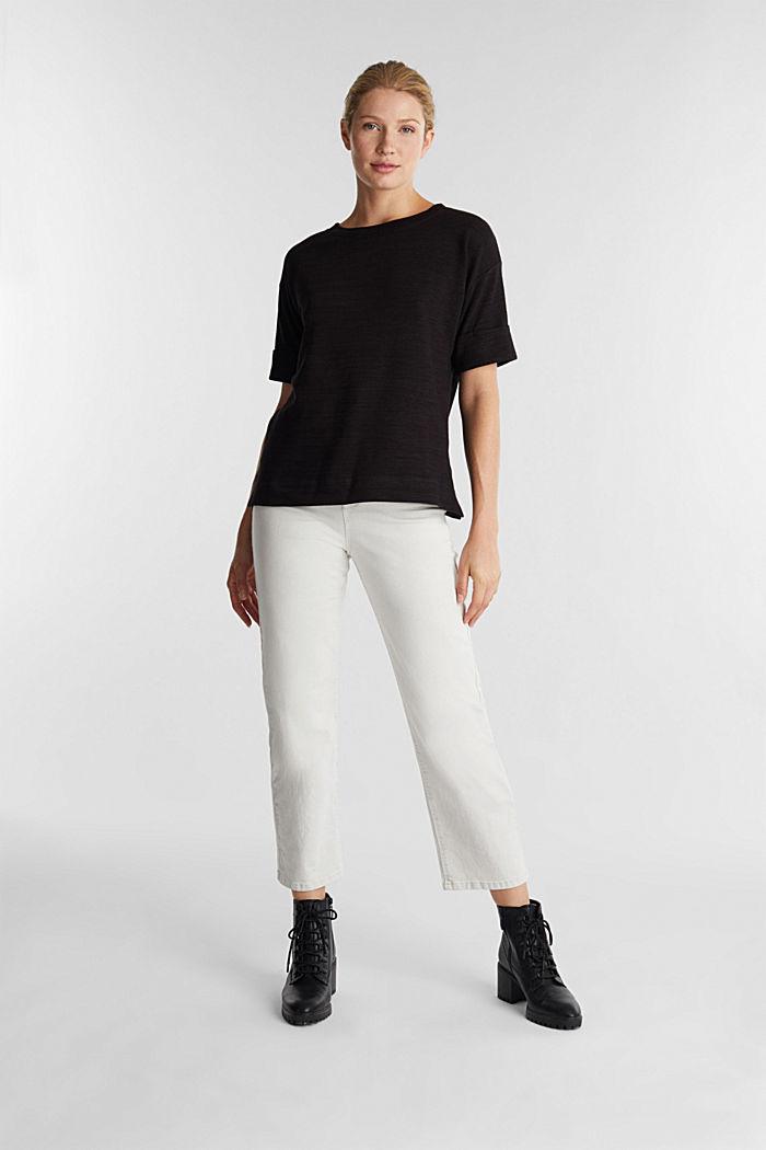 T-Shirt aus meliertem Sweatstoff, BLACK, detail image number 1