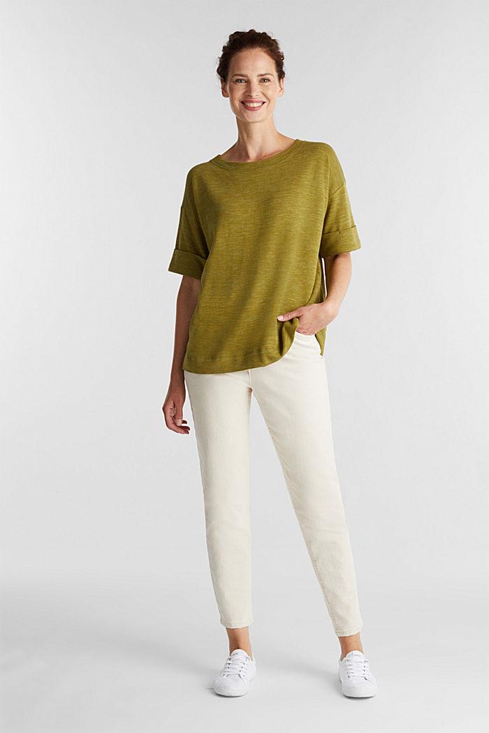 T-shirt made of melange sweatshirt fabric, OLIVE, detail image number 1