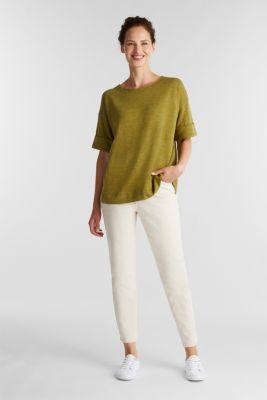 T-shirt made of melange sweatshirt fabric, OLIVE, detail