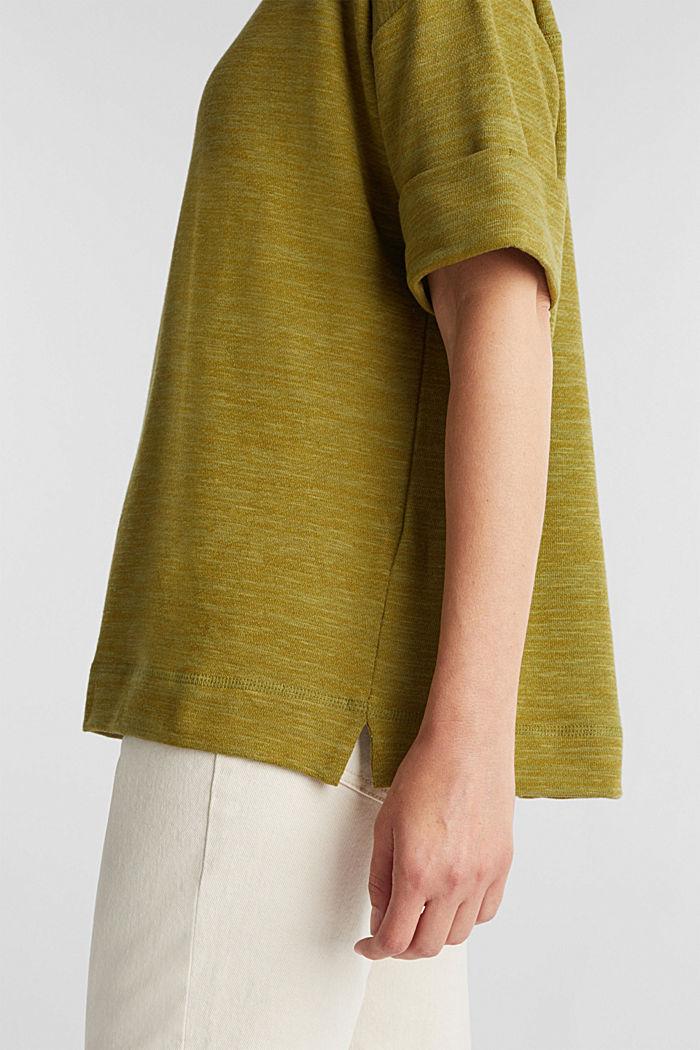 T-shirt made of melange sweatshirt fabric, OLIVE, detail image number 2