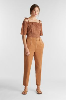 Carmen blouse with a minimalist print, RUST BROWN, detail