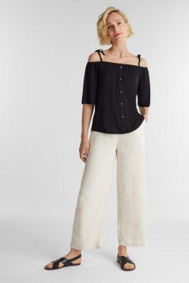 Blouse top with bardot neckline, BLACK, detail