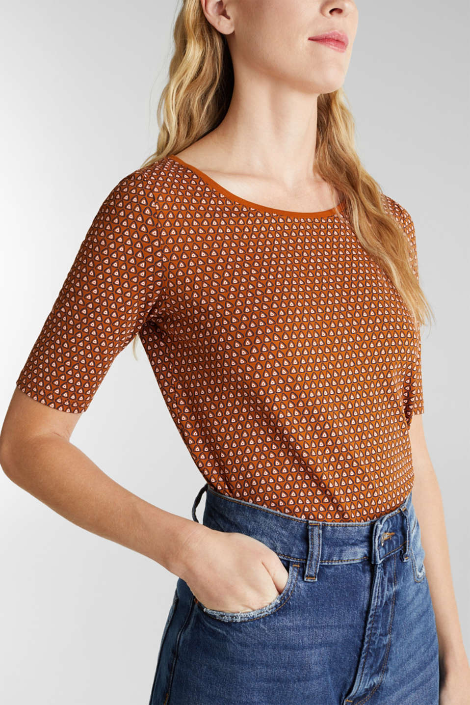 Organic cotton T-shirt with a print, RUST BROWN, detail image number 2