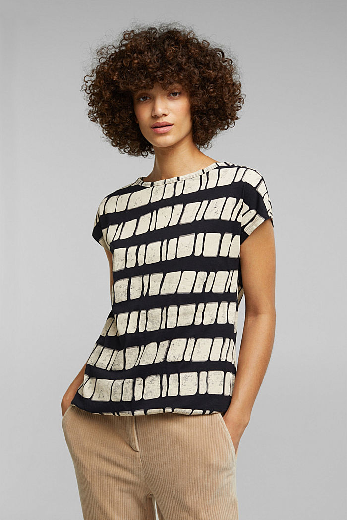 With linen: printed cotton blend top, BLACK, detail image number 0