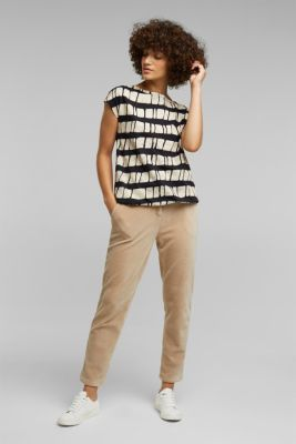 With linen: printed cotton blend top, BLACK, detail