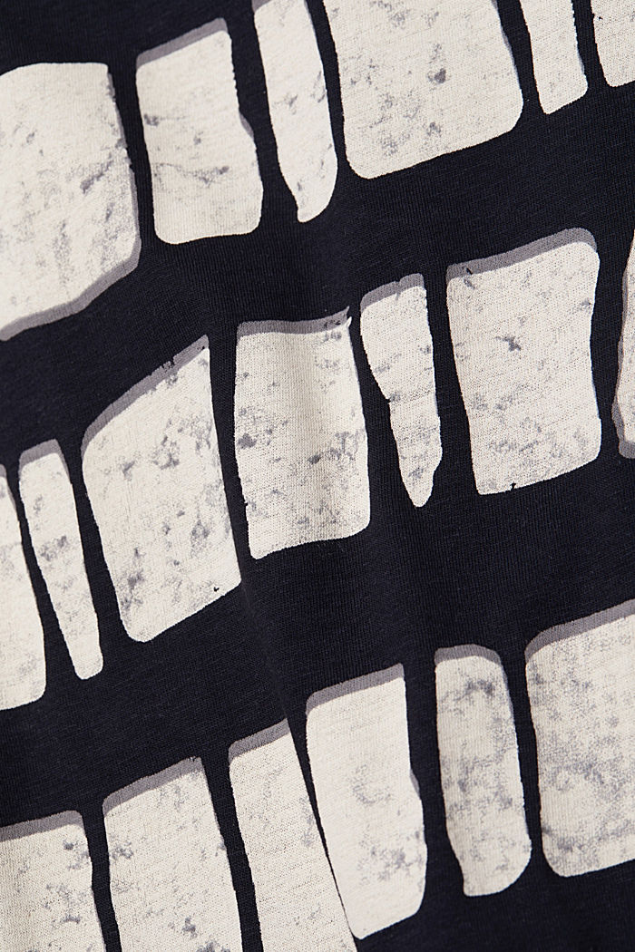 With linen: printed cotton blend top, BLACK, detail image number 4