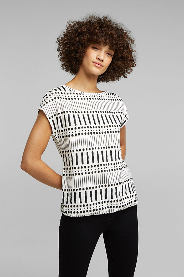 With linen: printed cotton blend top, OFF WHITE, detail image number 0