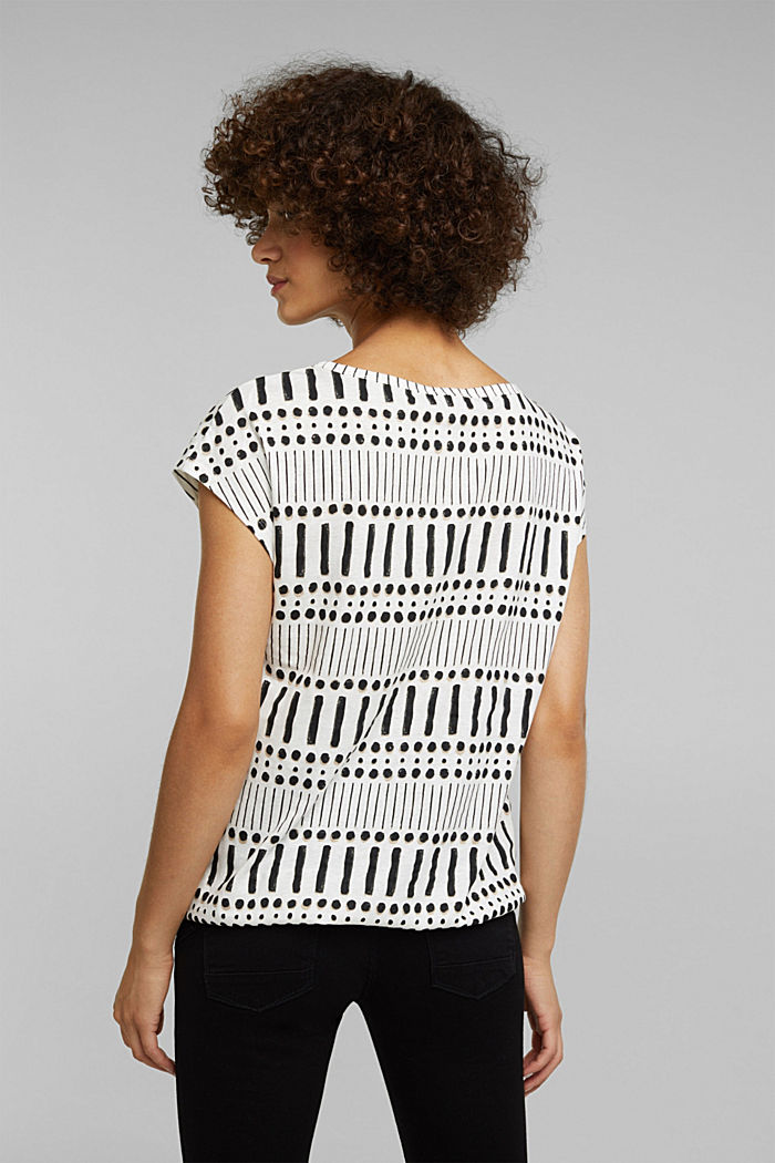 With linen: printed cotton blend top, OFF WHITE, detail image number 2