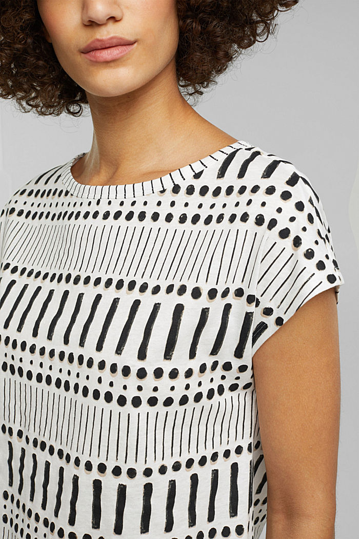 With linen: printed cotton blend top, OFF WHITE, detail image number 1