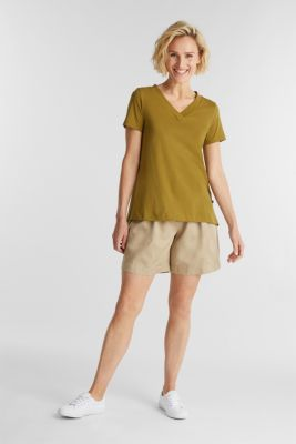 Recycled: T-shirt with organic cotton, OLIVE 4, detail