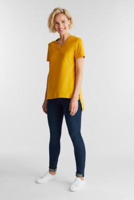 Recycled: T-shirt with organic cotton, BRASS YELLOW 4, detail