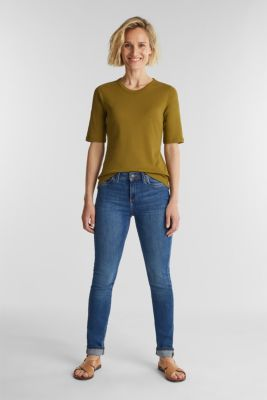 Ribbed T-shirt made of 100% organic cotton, OLIVE 4, detail