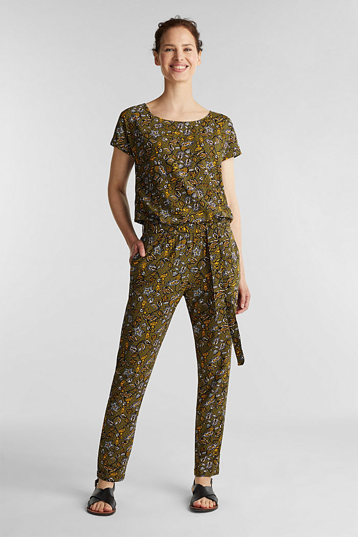 Print jumpsuit made of LENZING™ ECOVERO™, OLIVE, detail image number 0