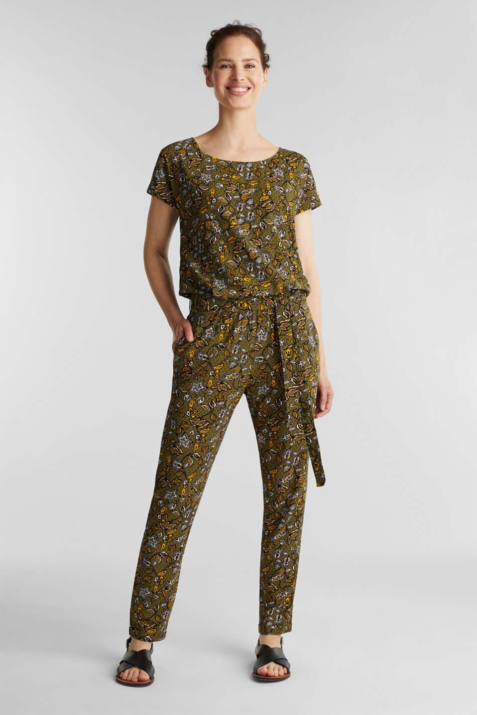 Esprit - Print jumpsuit made of LENZING™ ECOVERO™