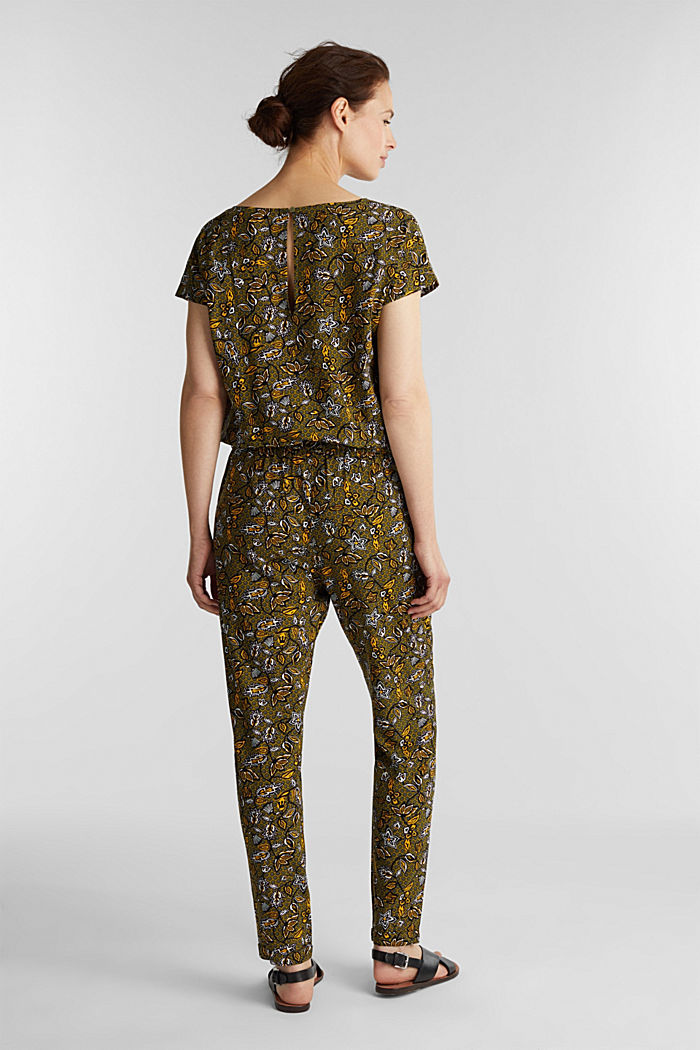 Print jumpsuit made of LENZING™ ECOVERO™, OLIVE, detail image number 3