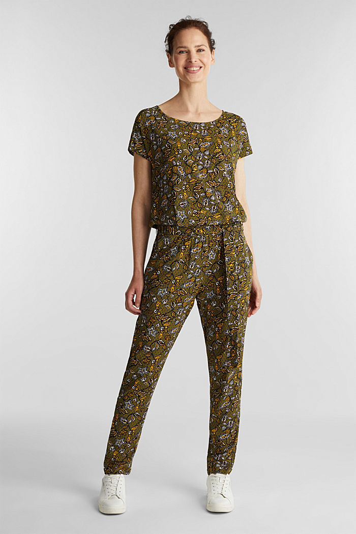 Print jumpsuit made of LENZING™ ECOVERO™, OLIVE, detail image number 1