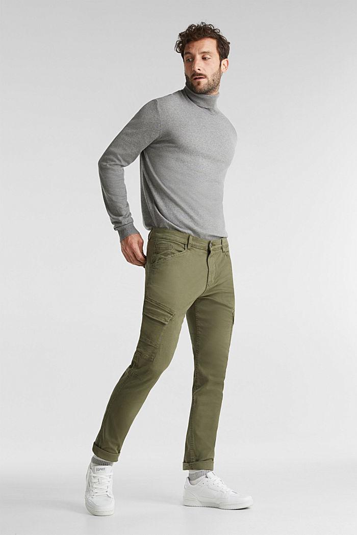 Spodnie bojówki z bawełny organicznej, KHAKI GREEN, detail image number 1