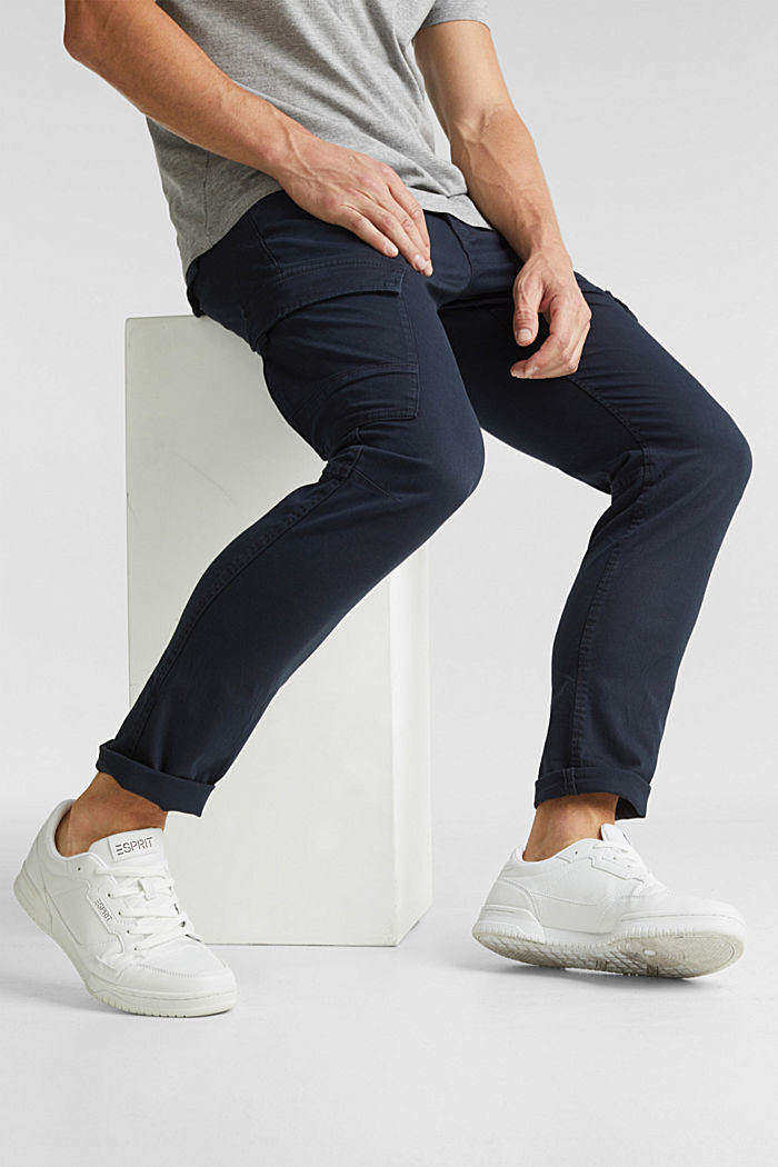 Cargo trousers in organic cotton, DARK BLUE, detail image number 6