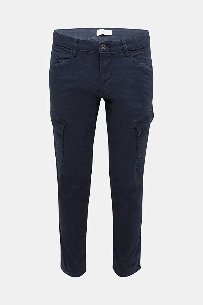 Cargo trousers in organic cotton, DARK BLUE, overview