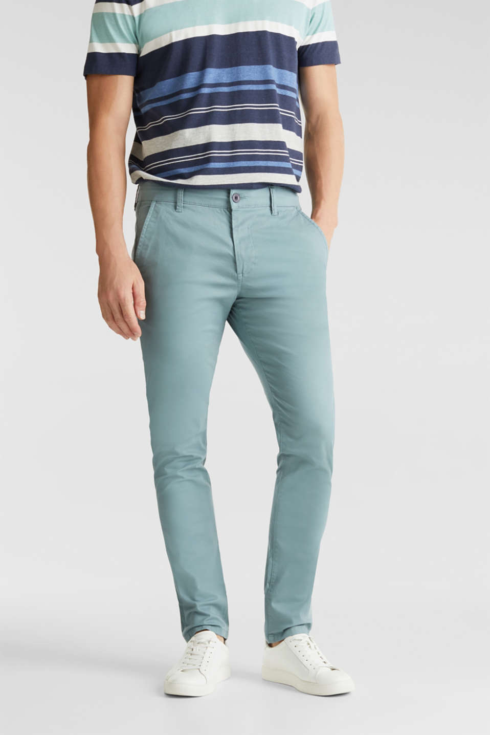Stretch cotton chinos, TEAL GREEN, detail image number 0
