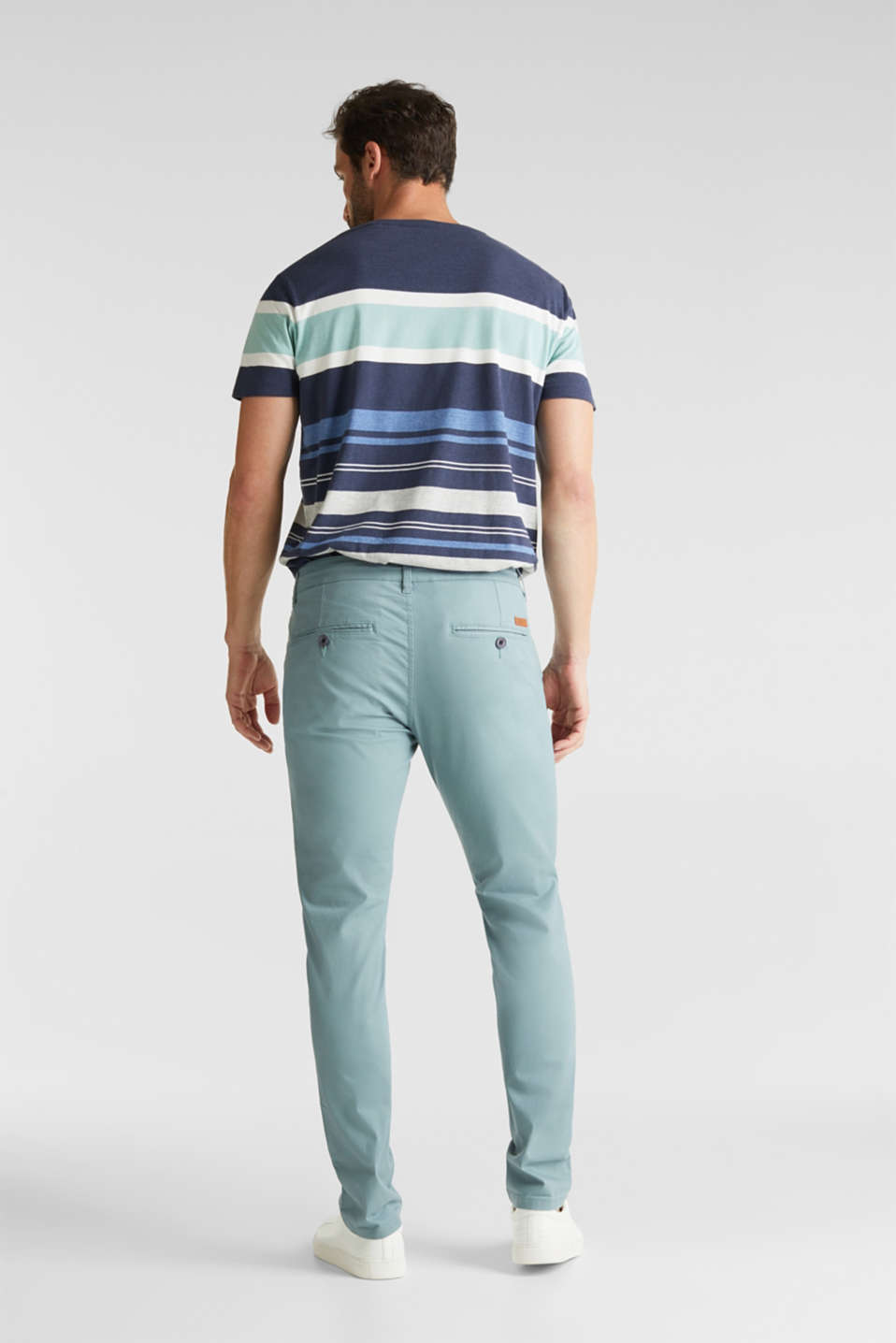Stretch cotton chinos, TEAL GREEN, detail image number 3