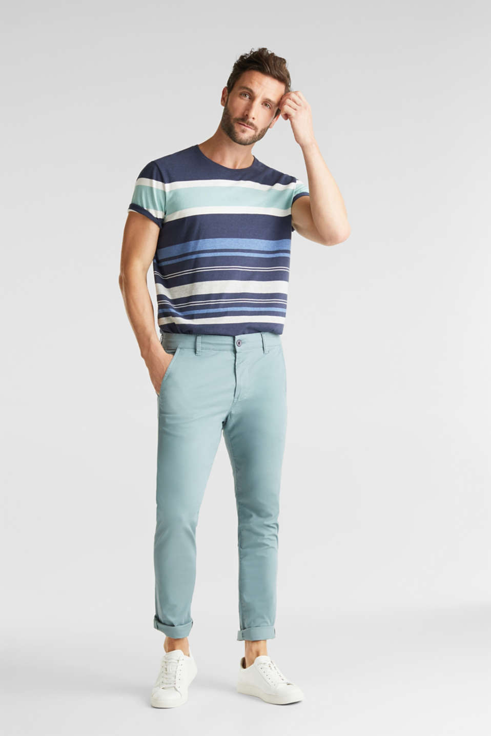 Stretch cotton chinos, TEAL GREEN, detail image number 1