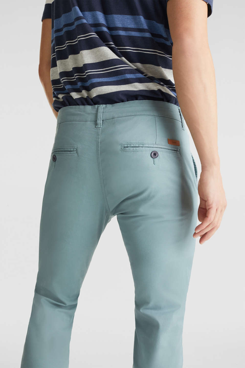 Stretch cotton chinos, TEAL GREEN, detail image number 2