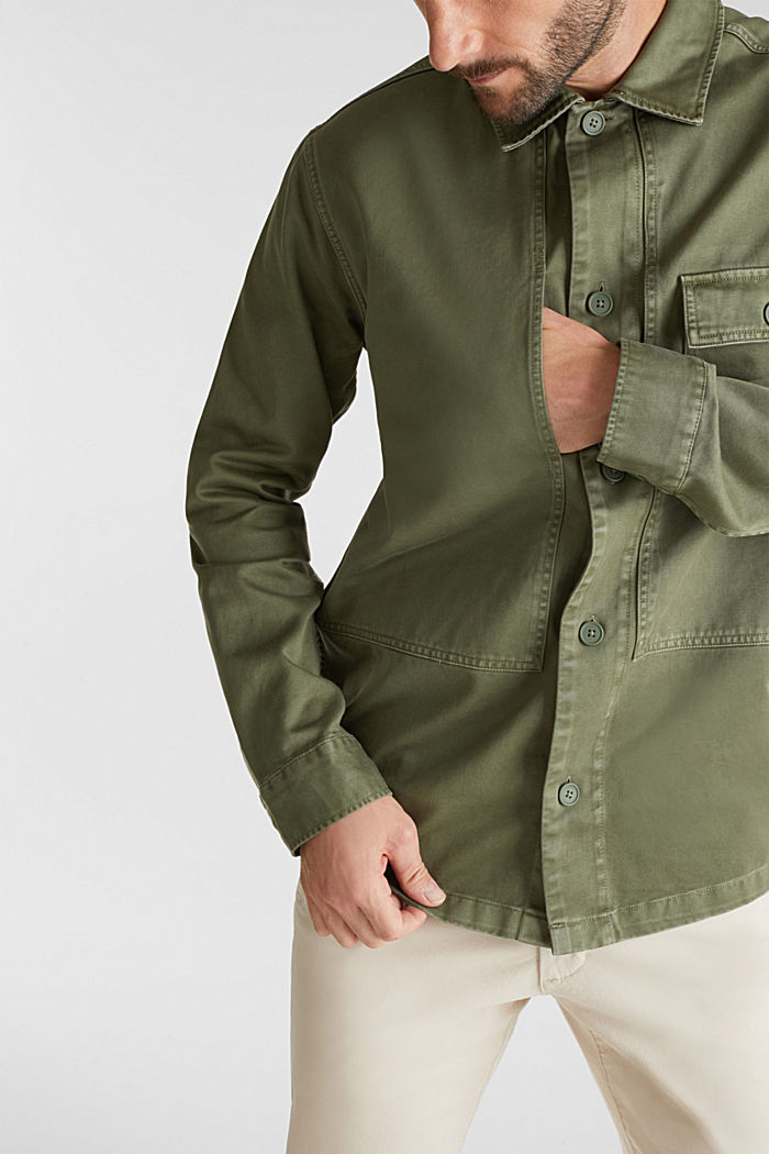 Overshirt made of 100% organic cotton, KHAKI GREEN, detail image number 2
