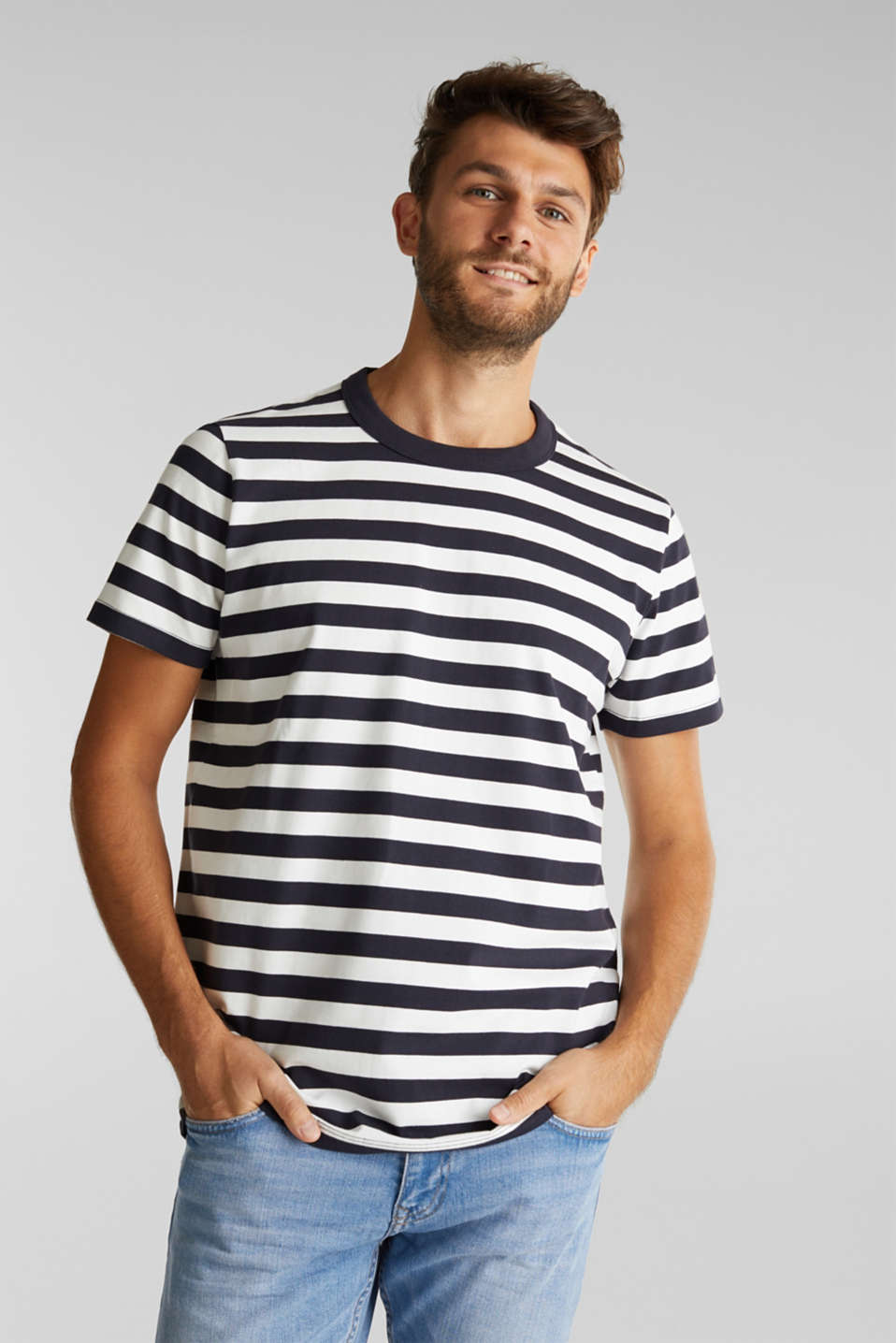 Esprit - Striped top made of 100% organic cotton