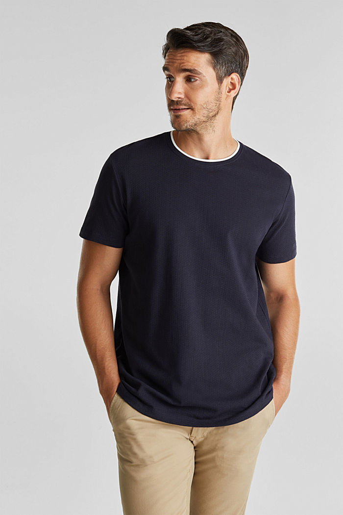 Layered jersey T-shirt, 100% organic cotton, NAVY, detail image number 0