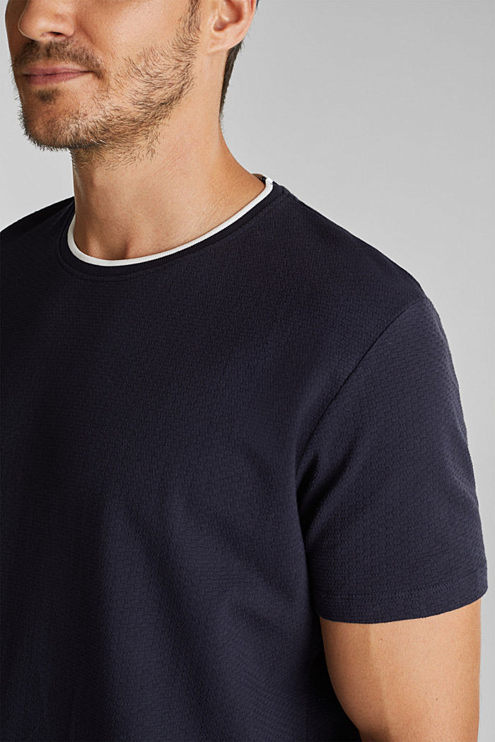Layered jersey T-shirt, 100% organic cotton, NAVY, detail image number 1