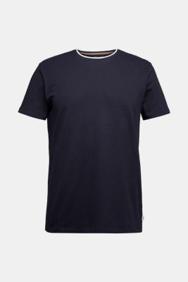 Layered jersey T-shirt, 100% organic cotton, NAVY, detail