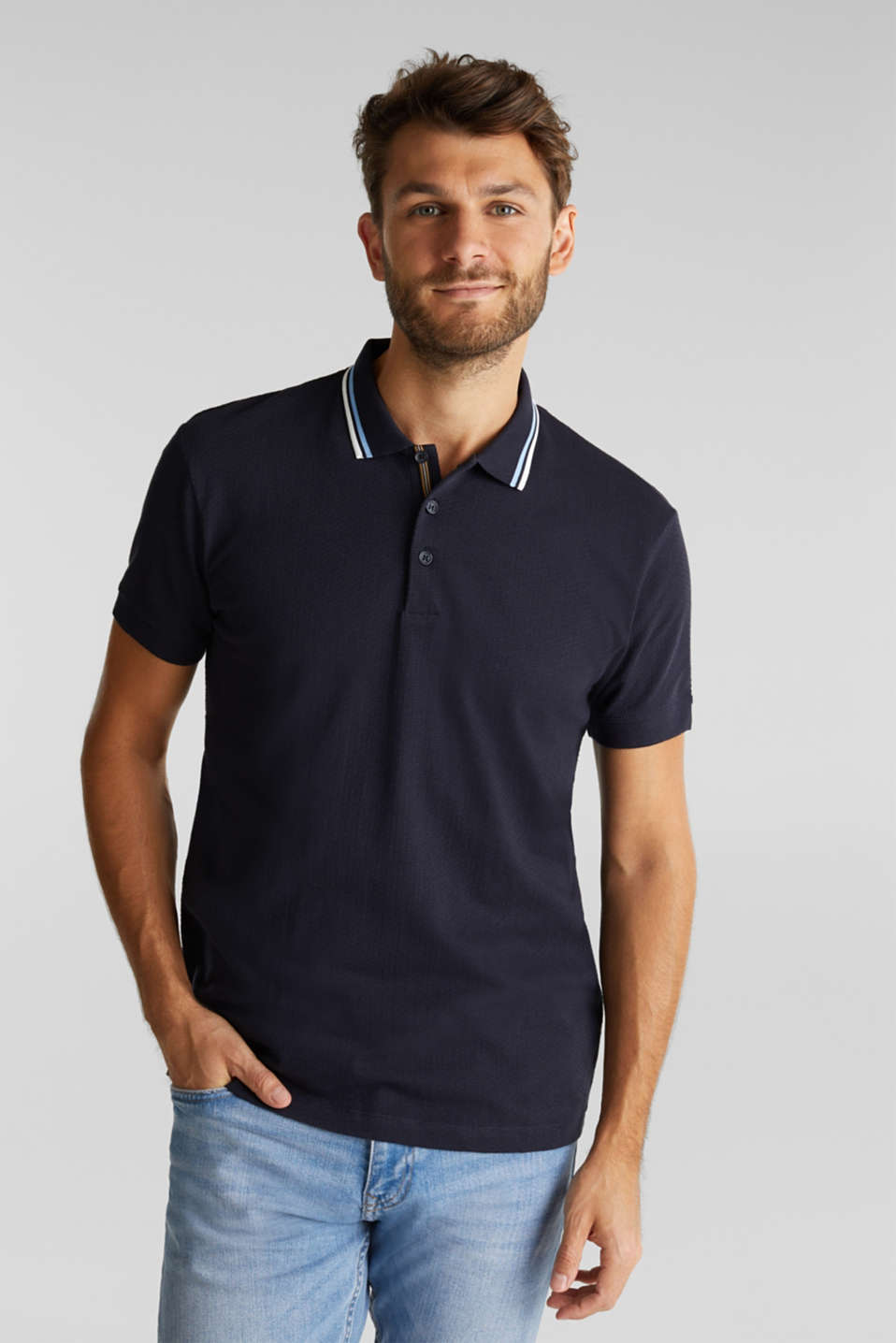 Esprit - Jersey polo shirt in 100% organic cotton