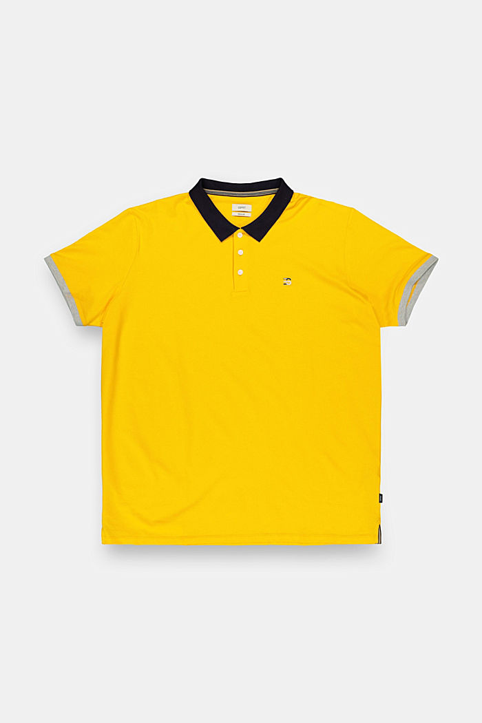 Piqué polo shirt made of stretchy organic cotton, SUNFLOWER YELLOW, detail image number 0