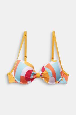 Printed, padded underwire bikini top, DUSTY YELLOW, detail
