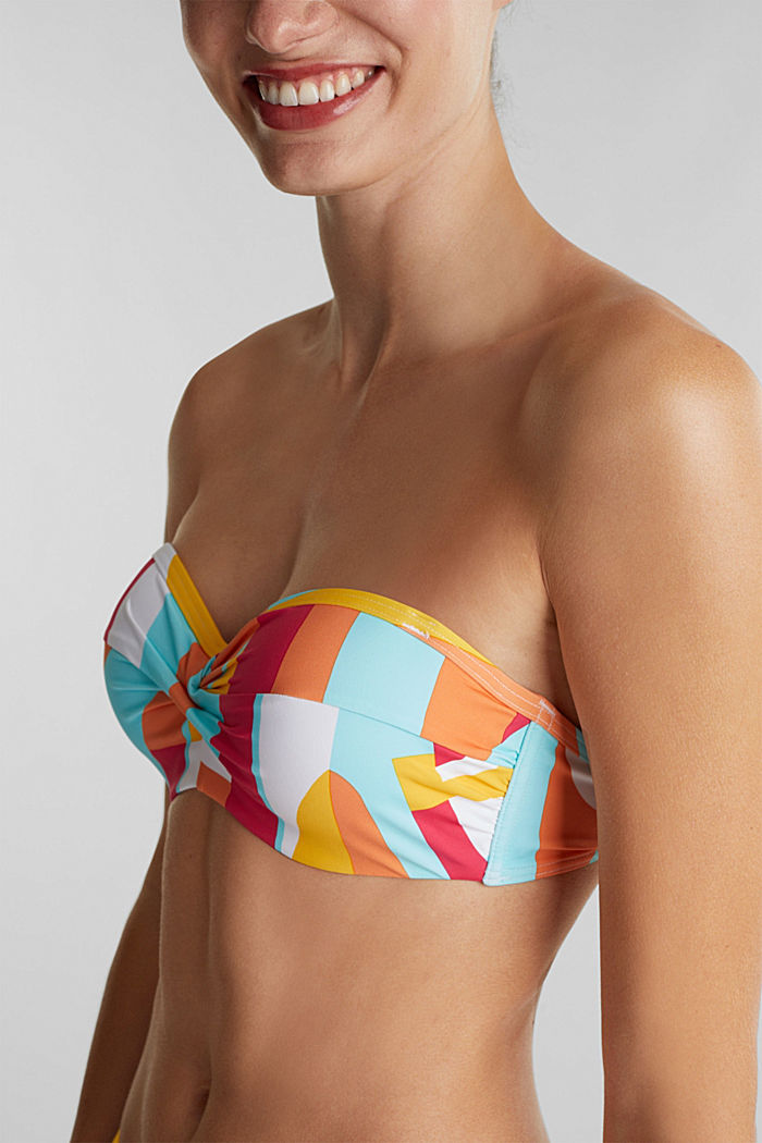 Padded bandeau top with print, DUSTY YELLOW, detail image number 2