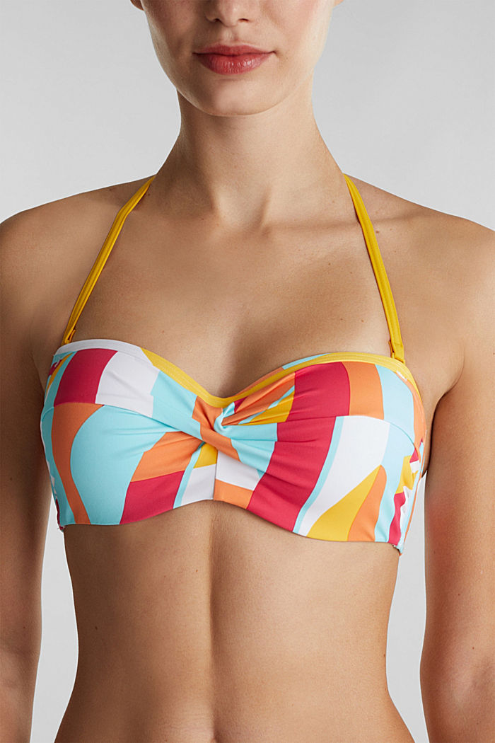 Padded bandeau top with print, DUSTY YELLOW, detail image number 4