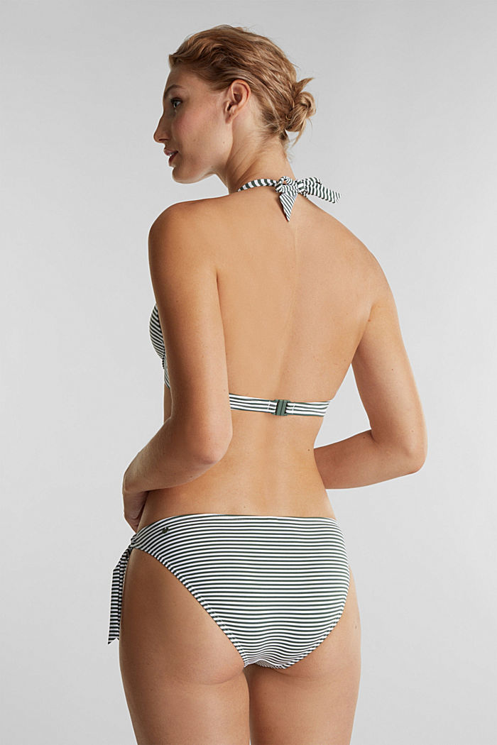Recycled: halterneck top with stripes, OLIVE, detail image number 1