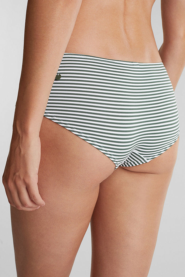 Recycled: striped shorts, OLIVE, detail image number 3