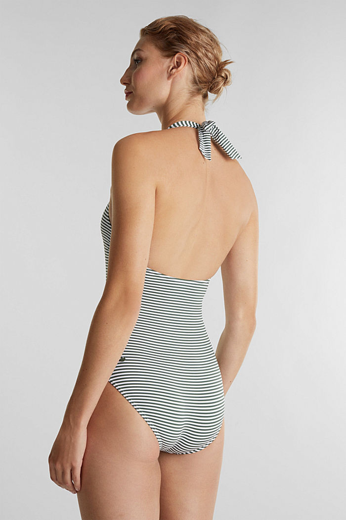 Recycled: Swimsuit with stripes, OLIVE, detail image number 1