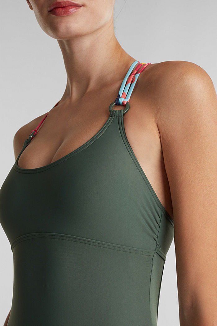 Swimsuit with multi-way straps, OLIVE, detail image number 2