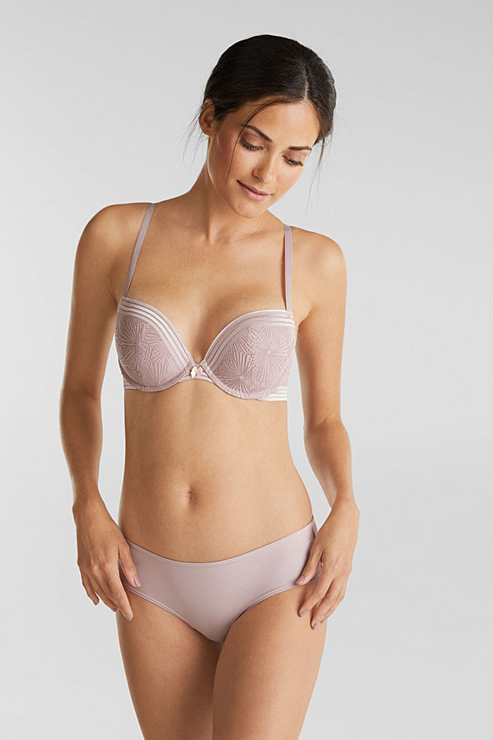 Recycled: push-up bra with lace, OLD PINK, detail image number 0