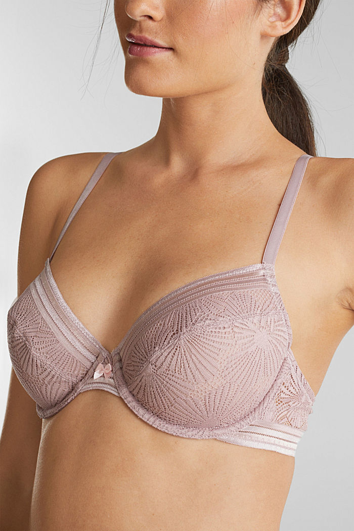 Recycled: underwire bra with lace, OLD PINK, detail image number 2