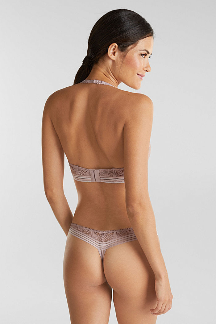 Recycled: hipster thong with lace, OLD PINK, detail image number 2